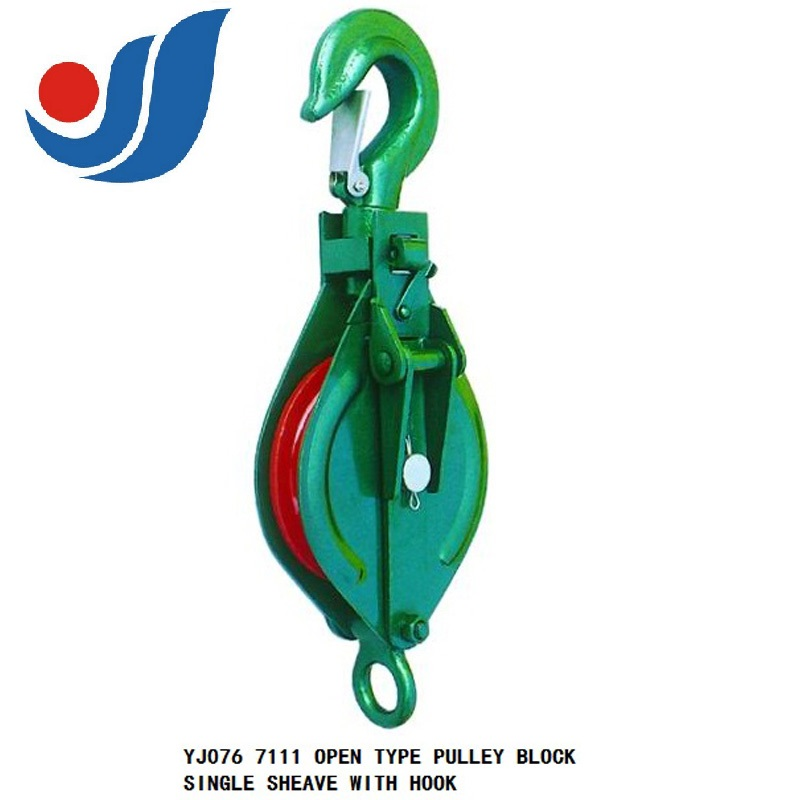 YJ076 OPEN TYPE PULLEY BLOCK SINGLE SHEAVE WITH HOOK